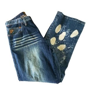 Akademiks distressed bleached heavy stitched jeans